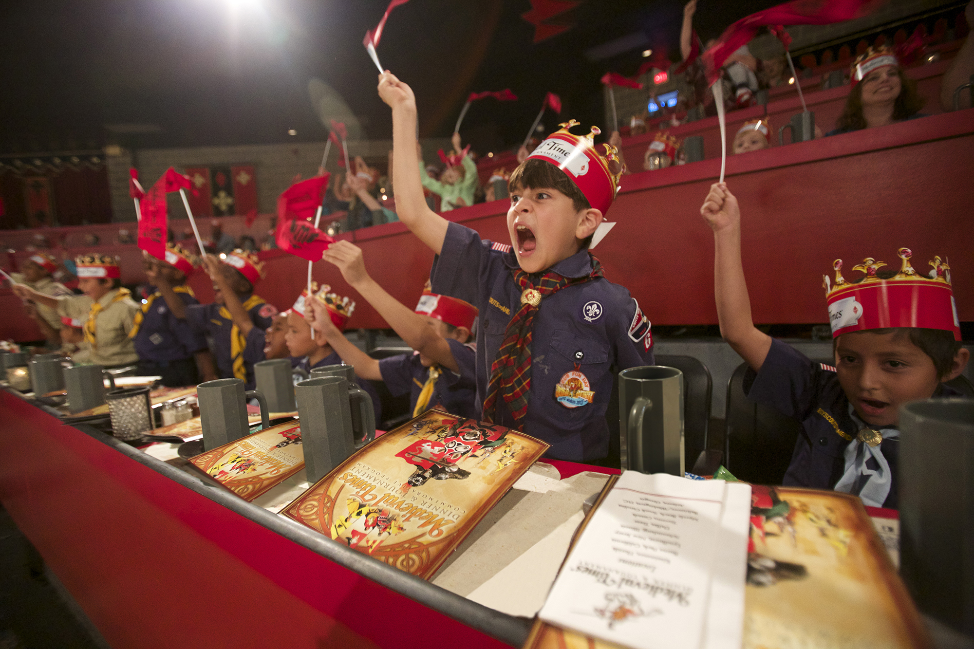 cub scout cheering and waving banner in the arena